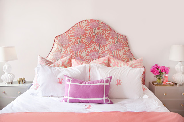 Personalized Cocktail Napkins Bedroom Eclectic with Feminine Floral Flower Arrangement Headboard Monogram Night Stands Pink