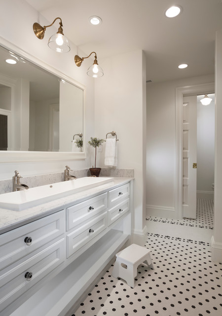 Pfister Ashfield Bathroom Traditional with Footstool Framed Mirror Jack and Jill Sink Marble Counter