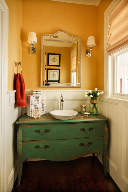 Pfister Ashfield Powder Room Traditional with Bathroom Mirror Chest Converted to Sink Vanity Distressed Finish