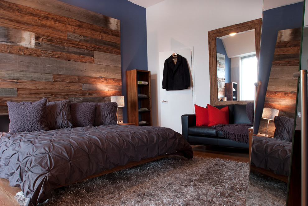 Pintuck Duvet Cover Bedroom Contemporary with Area Rug Barnwood Wall Bedroom Blue Walls