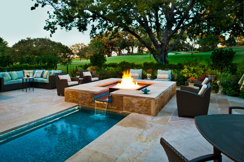 pit sectional pool with blue tiles golf course landscaping lap pool - Pit Sectional