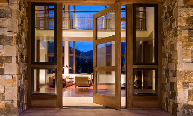 Pivot Hinges Entry Contemporary with Balcony Door Entry Floor to Ceiling Window Foyer Front