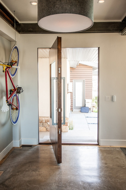 Pivot Hinges Entry Contemporary with Bicycle Concrete Floor Modern Mountain Pendant Light Pivot Door