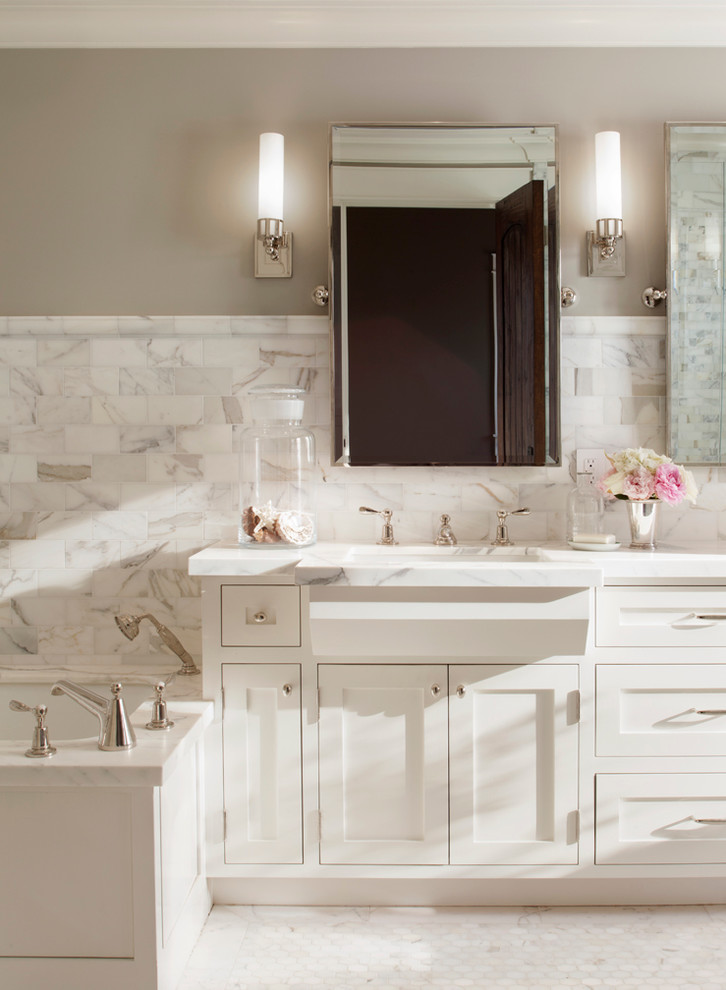Pivot Mirror Bathroom Traditional with Bathroom Bathroom Lighting Bathroom Mirror Cabinetry Calacata