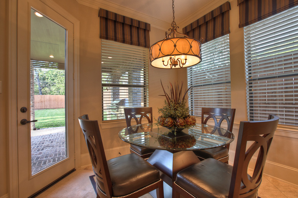 plantation blinds Dining Room Traditional with beige blinds breakfast table brown crown molding