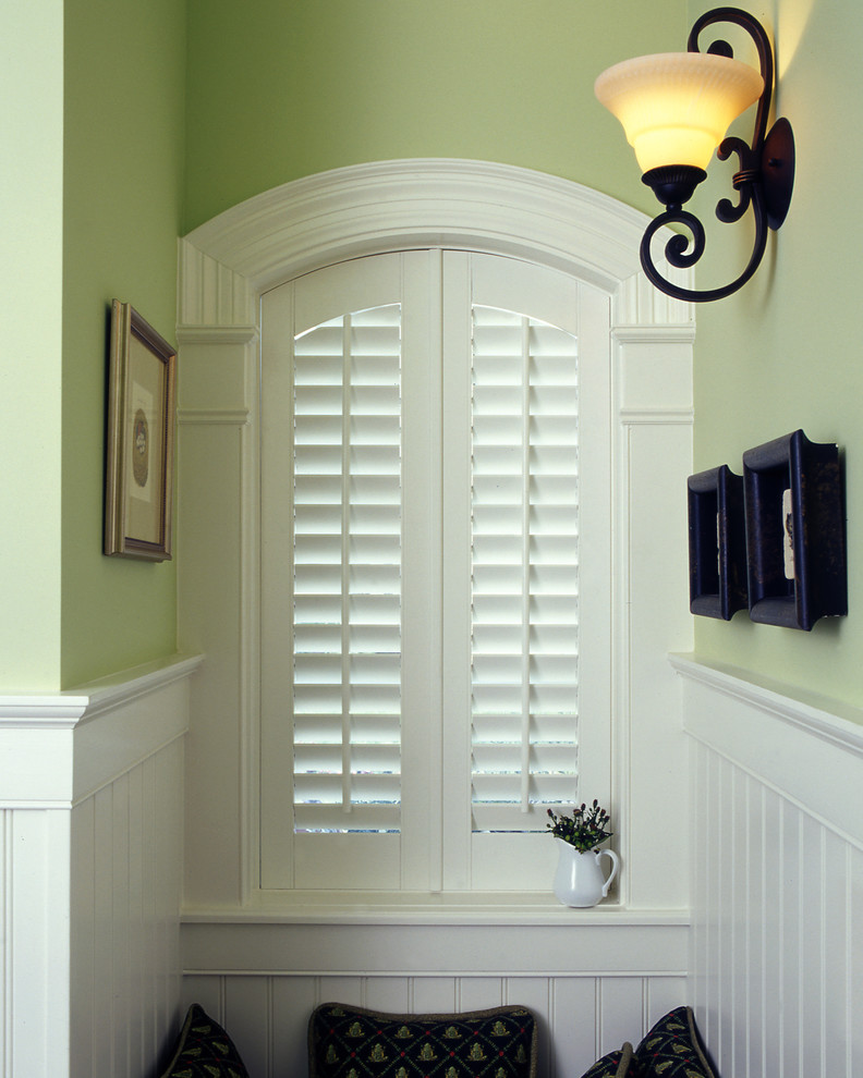 Plantation shutters costco hall traditional with black shutters blinds composite shutters for Black window shutters interior