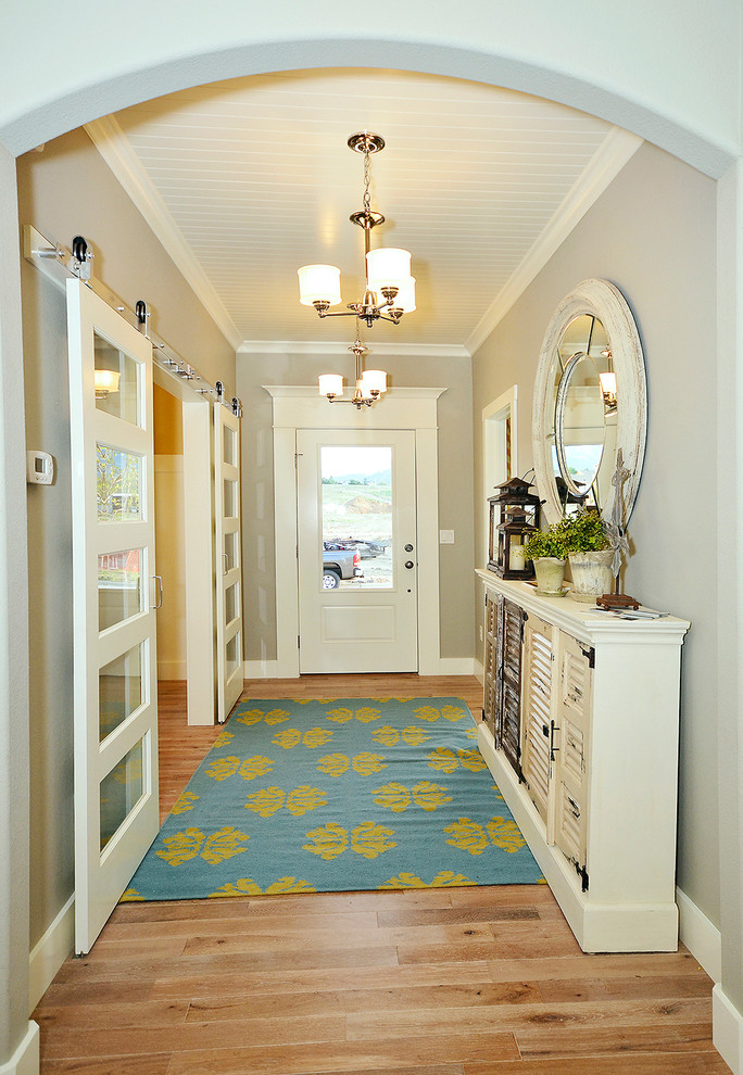 Plantation Shutters for Sliding Glass Doors Entry Traditional with Archway Area Rug Barn Door Hardware Barn
