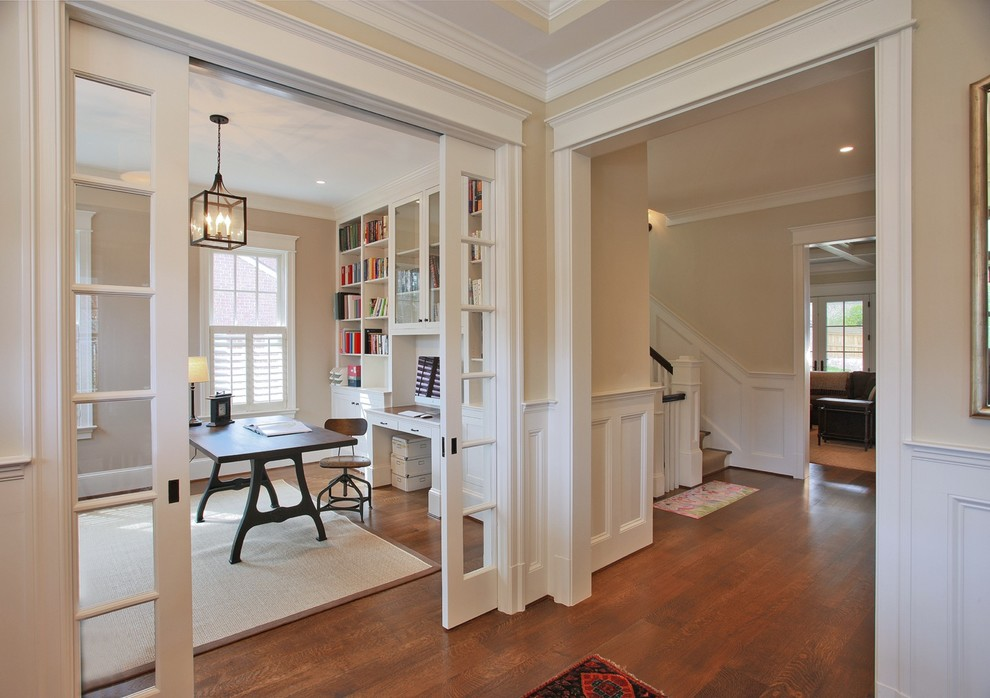 Plantation Shutters for Sliding Glass Doors Home Office Traditional with Area Rug Beige Built in Bookshelves Crown Molding
