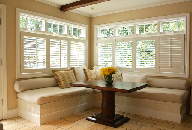 Plantation Shutters Lowes  Dining Room Traditional With Banquette Beadboard Breakfast Bar Breakfast Nook Eat In Kitchen