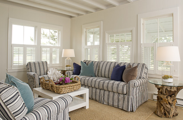 Plantation Shutters Lowes Living Room Beach with Area Rug Beach Cape Cod Style Cottage Decorative Pillows
