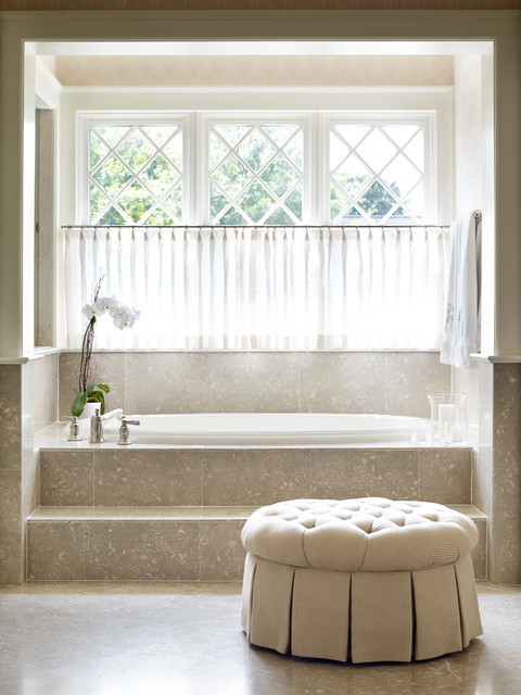 Plastic Step Stool Bathroom Traditional with Cafe Curtain Cream Deck Mounted Tub Filler Lattice Neutral