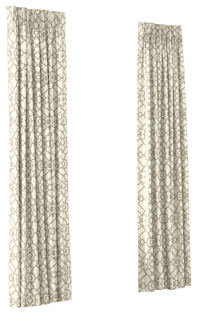 Pleated Curtains with Beige Contemporary Cotton Eclectic Ethnic Fretwork Gray Lattice Moroccan