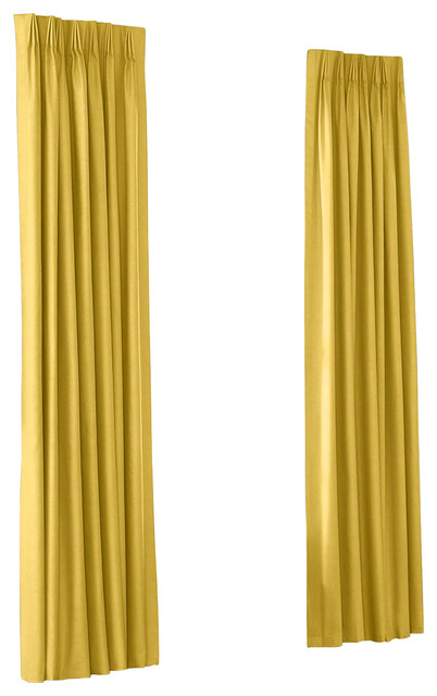 Pleated Curtains with Linen Mustard Solid Yellow