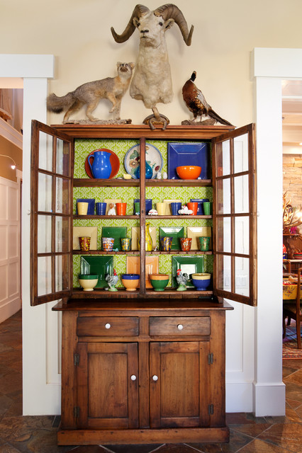 Plexiglass Cut to Size Dining Room Eclectic with China Cupboard Fox Green Wallpaper Mounted Animals Pheasant Ram