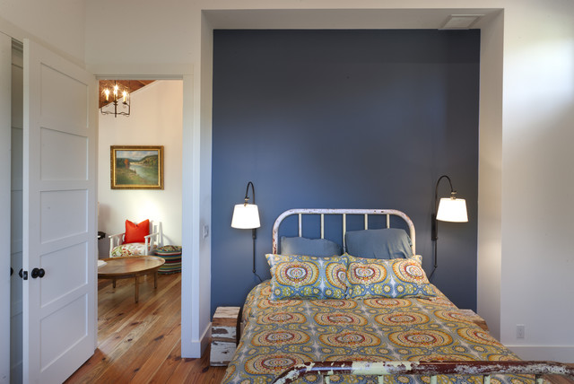 Plug in Sconce Bedroom Farmhouse with Accent Wall Alcove Blue Accent Wall Blue Throw Pillow