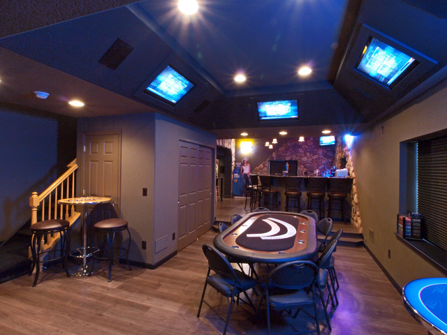 poker chairs Basement Traditional with bar stools built in tv cocktail table game room