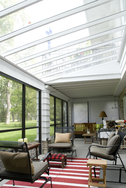 Polycarbonate Greenhouse Sunroom Traditional with Area Rug Enclosed Porch Outdoor Cushions Patio Furniture Skylights