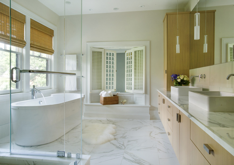 Porcelain Tile That Looks Like Marble Bathroom Contemporary with Above Counter Sink Bamboo Shades Calacatta Counter