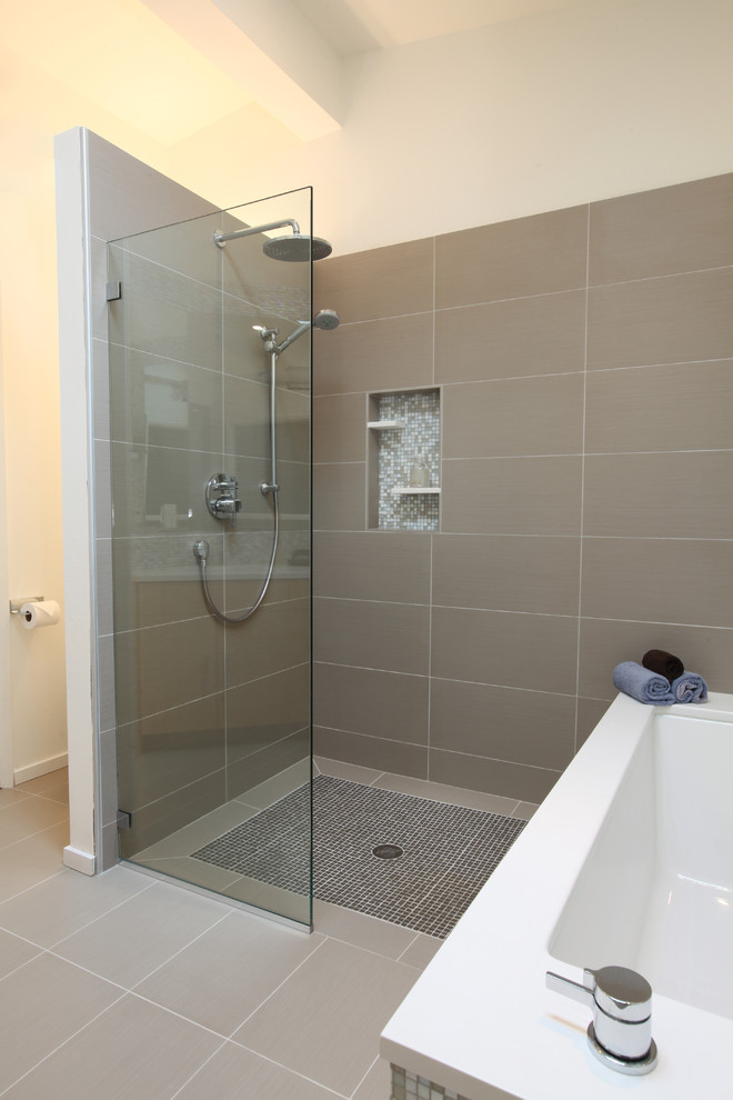 Porcelain Tile That Looks Like Marble Bathroom Midcentury with Bamboo Cabinet Bathroom Tile Curbless Shower Daltile