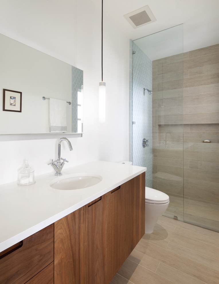 Porcelain Tile That Looks Like Wood Bathroom Contemporary with Bathroom Mirror Curbless Shower Floating Vanity Glass