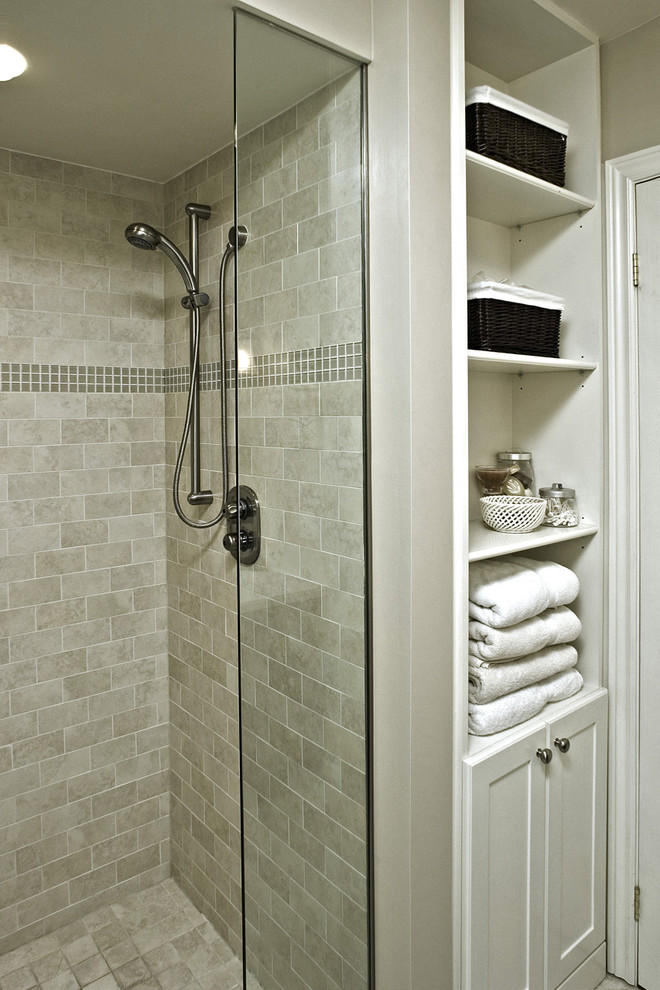 Porcelain Tile That Looks Like Wood Bathroom Traditional with Bathroom Storage Glass Accent Tiles Glass Shower