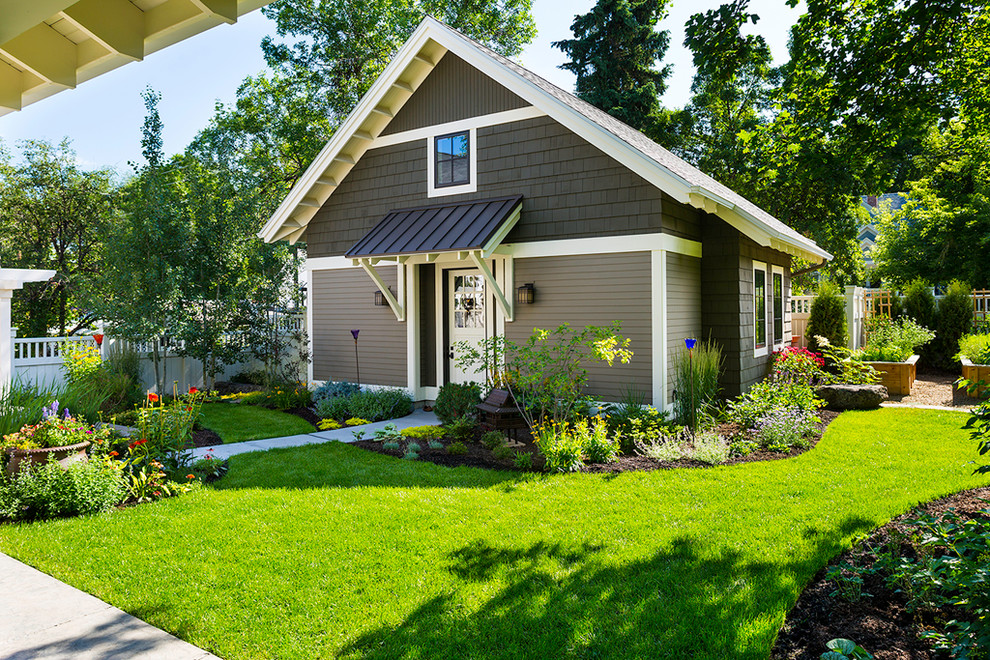 Porch Awnings Garage and Shed Craftsman with Gable Roof Guest Cottage Guest House Landscaping