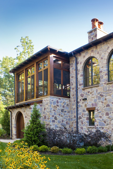 Porch Enclosures Exterior Mediterranean with Arched Doorway Casement Windows Chimney Covered Entry Iron Railing
