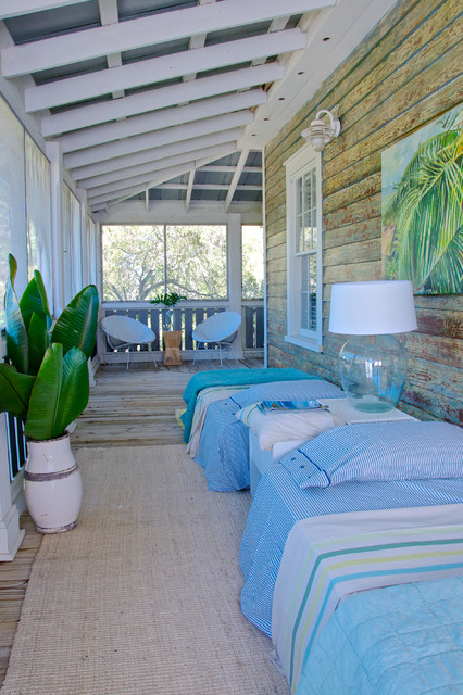 Porch Enclosures Porch Beach with Distressed Paint Extra Guest Beds Glass Lamp Indoor Outdoor