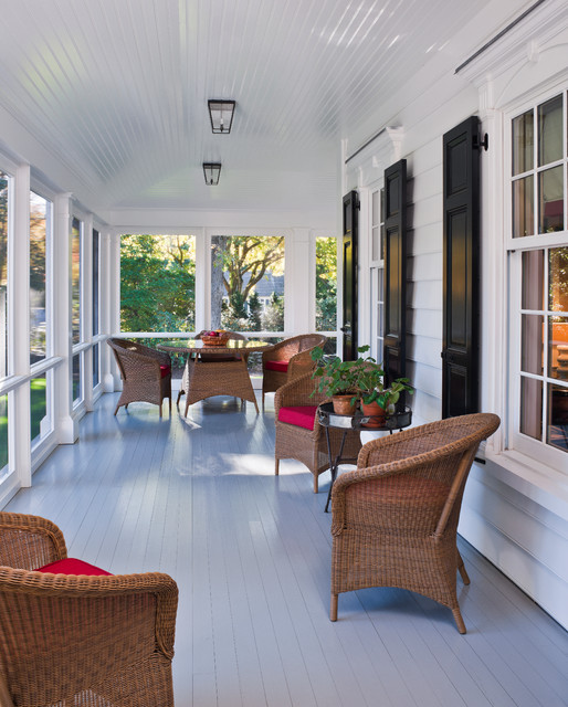 Porch Enclosures Porch Traditional with Black Shutters Ceiling Lights Glass Topped Table Gray Painted