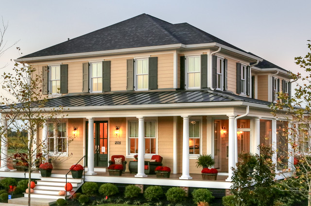 Porch Pillars Exterior Traditional with Black Shutters Column Craftsman Front Door Front Entrance Front