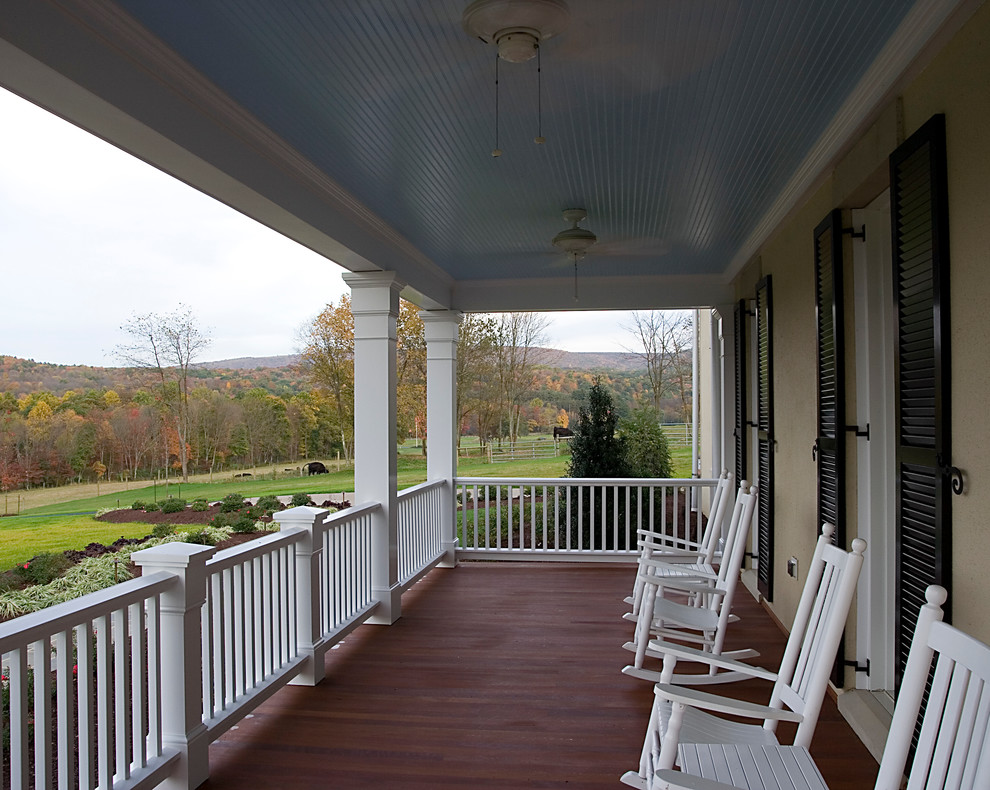 Porch Railing Ideas Porch Traditional with Beadboard Ceiling Black Shutters Ceiling Fans Columns1