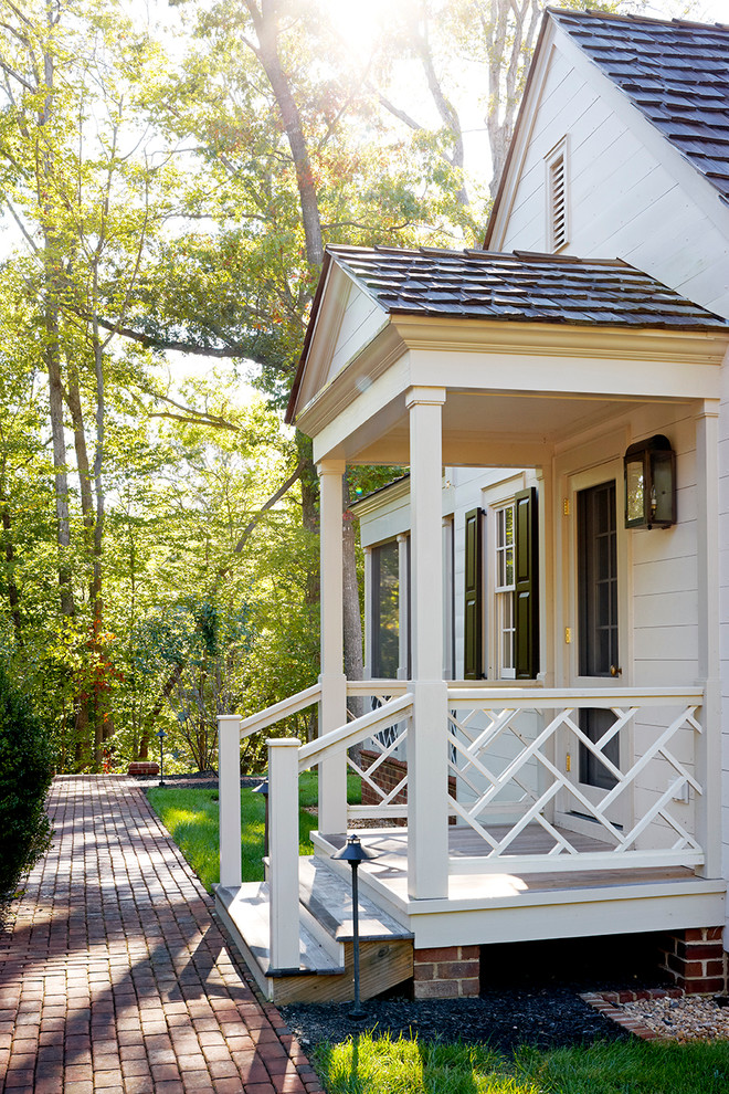 Porch Railing Ideas Porch Traditional with Black Shutters Brick Walkway Chippendale Porch Railing1