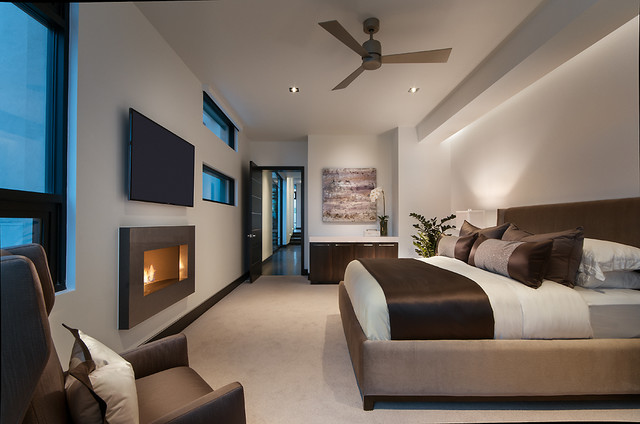 portable-electric-fireplace-Bedroom-Contemporary-with-armchair ...