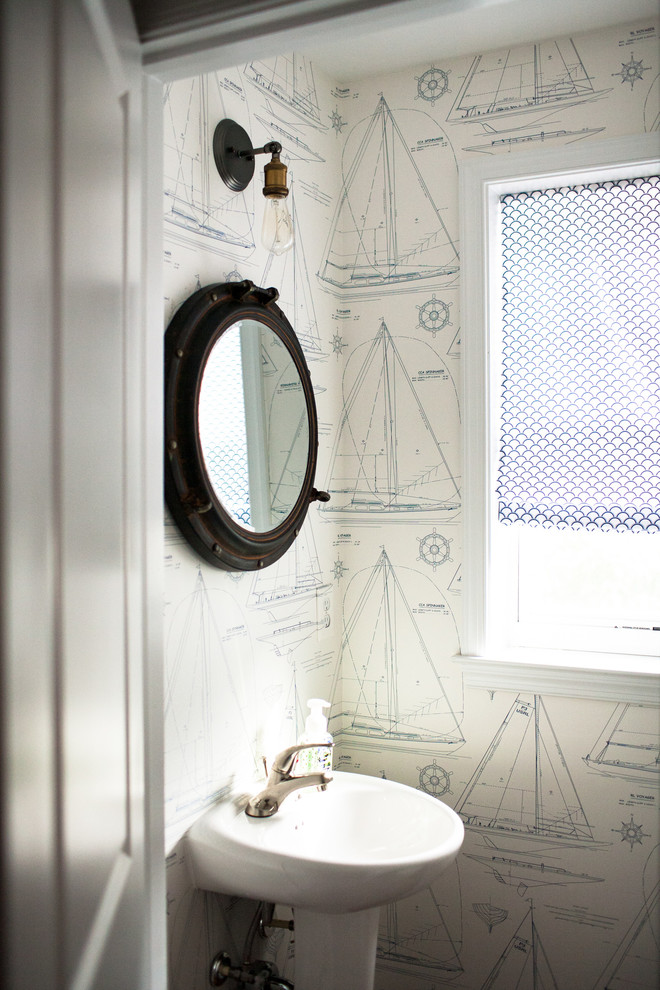 Porthole Mirror Powder Room Beach With Area Rugs Bamboo Blinds Blue And White