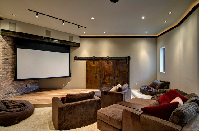 Pottery Barn Bean Bag Home Theater Contemporary with Brick Wall Brown Armchairs Ceiling Lighting Gray Walls Home