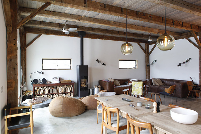 Pottery Barn Bean Bag Living Room Rustic With Chairs Cabin Concrete Flooring Floors