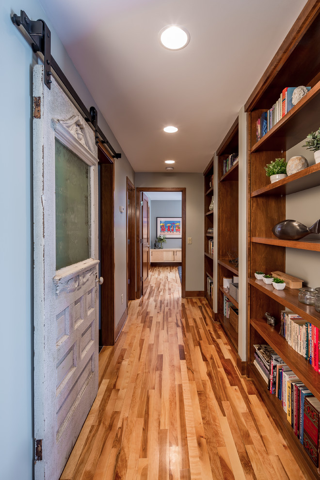 pottery barn bookcase Hall Contemporary with barn doors built in bookshelves doorway recessed