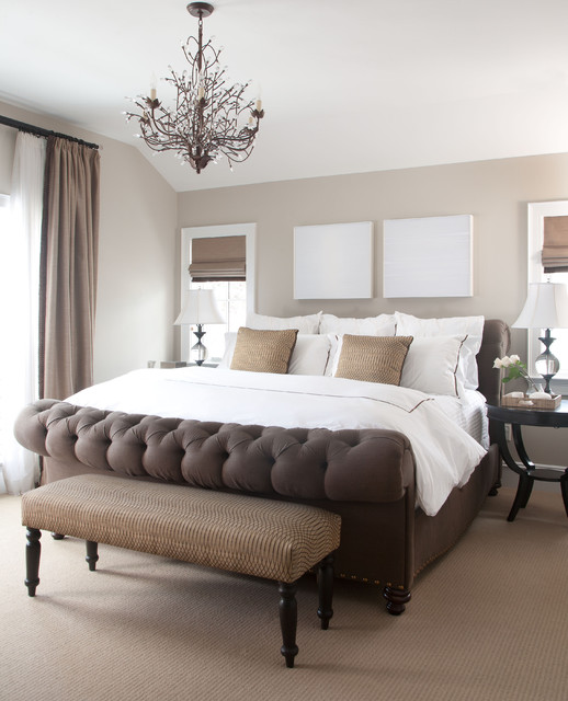 Pottery Barn Curtain Rods Bedroom Traditional with Bedroom Bench Beige Carpet Beige Curtain Beige Drapes Beige