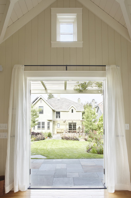 Pottery Barn Curtain Rods Patio Traditional with Beams Curtain Panel Flagstone Lawn Pergola Tongue and Groove