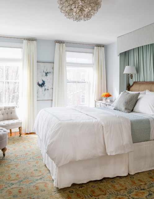 pottery barn duvet Bedroom Traditional with blue blue walls burlap canopy canopy beds cashmere chadelier