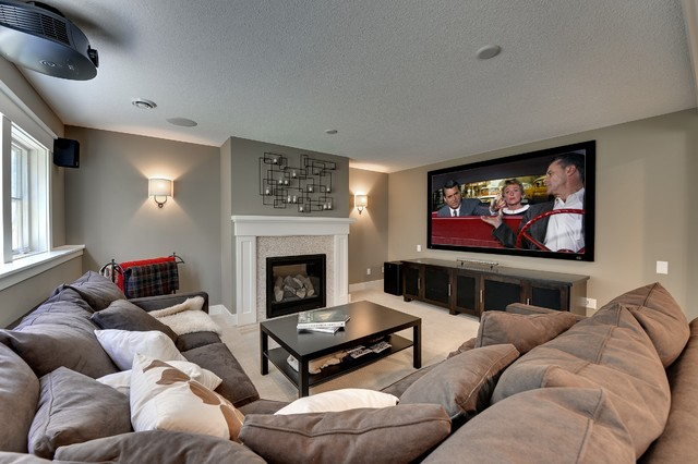 Pottery Barn Media Console Family Room Contemporary with Brown Sectional Carpet Fireplace Art Home Theater Large Tv