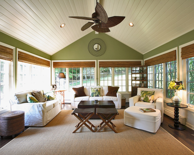 pottery barn roman shades Sunroom Traditional with area rug bamboo blinds ceiling fan ceiling lighting decorative