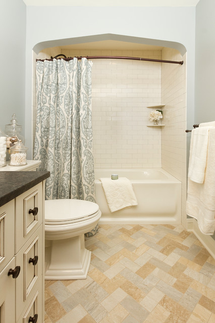 Pottery Barn Shower Curtain Bathroom Traditional with Alcove Archway Jars Light Blue Wall Neutral Niche Nook