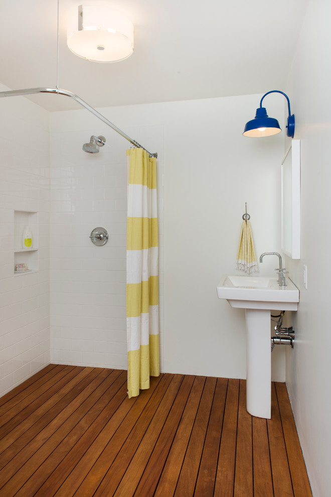 Pottery Barn Shower Curtains Bathroom Contemporary with Barn Lamp Deck Pedestal Sink Striped Shower