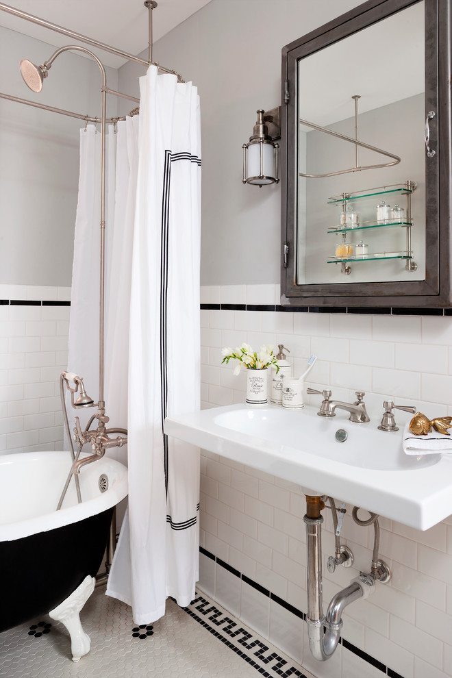 Pottery Barn Shower Curtains Bathroom Eclectic with Black and White Tile Black Clawfoot Bathtub