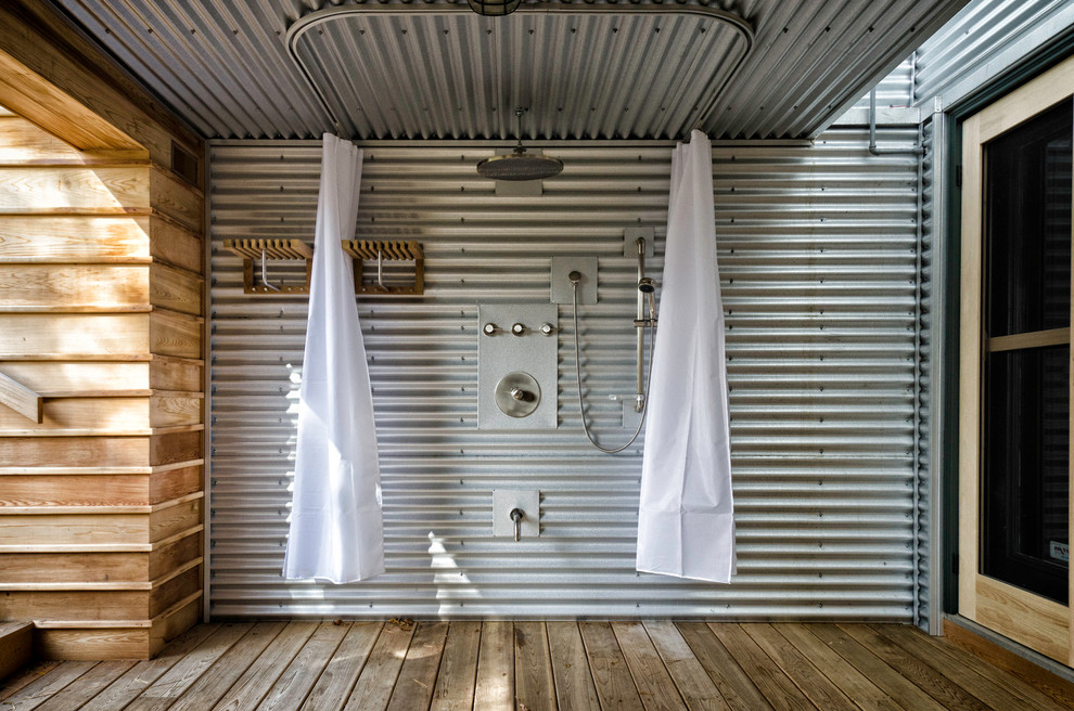 Pottery Barn Shower Curtains Patio Industrial with Beach Cottage Beach House Beachfront Cedar Corrugated