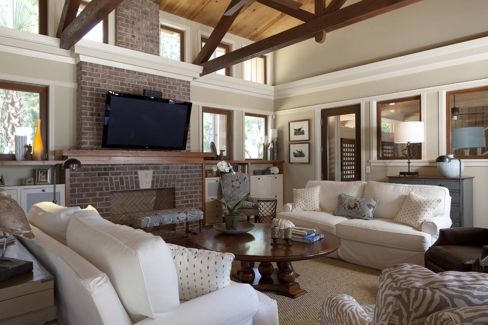 Pottery Barn Sleeper Sofa Living Room Contemporary with Beams Brick Fireplace Cathedral Ceiling Round Coffee