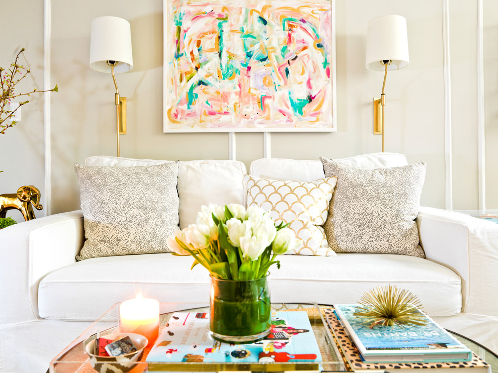 Pottery Barn Sleeper Sofa Living Room Eclectic with Beige Walls Candles Couch Sconce Sofa Tulips
