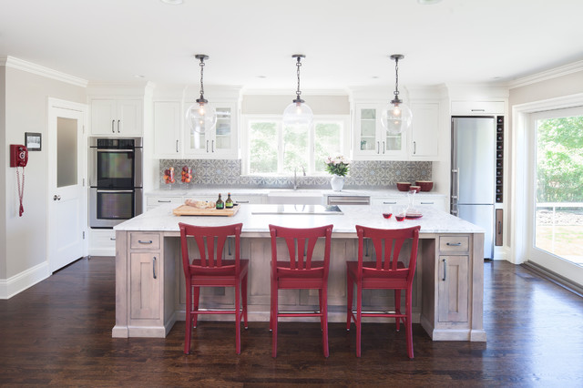 Pottery Barn Stools Kitchen Traditional with Carerra Countertop Concrete Tiles Custom Cabinetry Custom Kitchen Downdraft