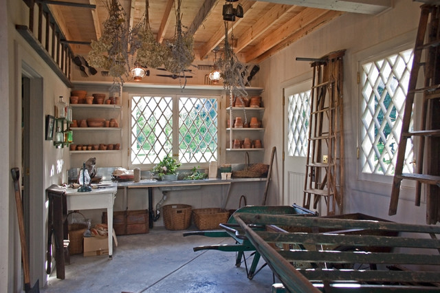 Potting Benches Porch Rustic with Casement Windows Concrete Floor Divided Lights Drying Flowers Garden